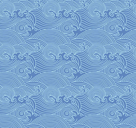 Japanese Curl Storm Wave Vector Seamless Pattern