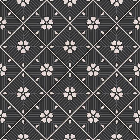 Japanese Cherry Blossom Diamond Vector Seamless Pattern