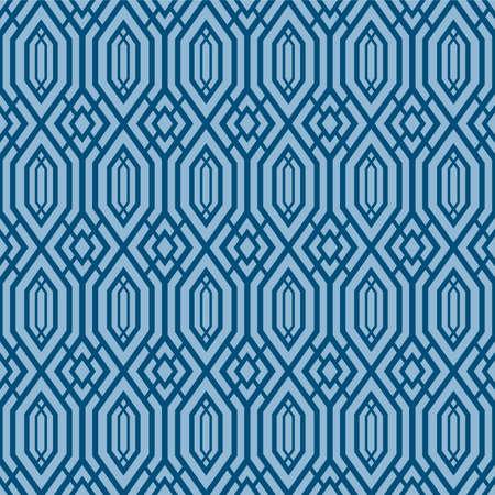 Japanese Hexagon Chain Zigzag Vector Seamless Pattern