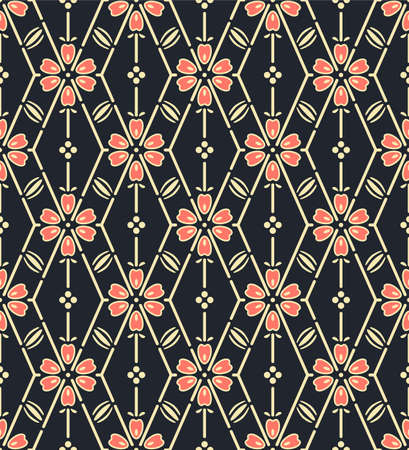 Japanese Flower Zigzag Line Vector Seamless Pattern