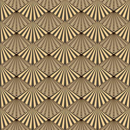 Japanese Luxury Fan Diamond Vector Seamless Pattern