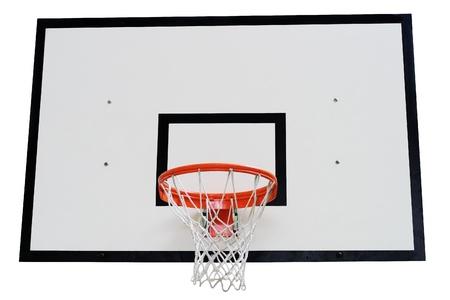 Basketball basket against white background photo