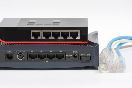 Ethernet switch isolated and router modem connect Lan on the white background photo