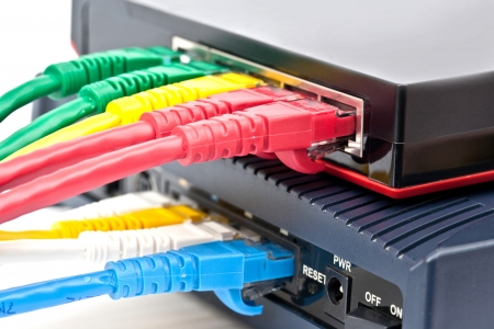 Ethernet switch isolated and router connect Lan colorful