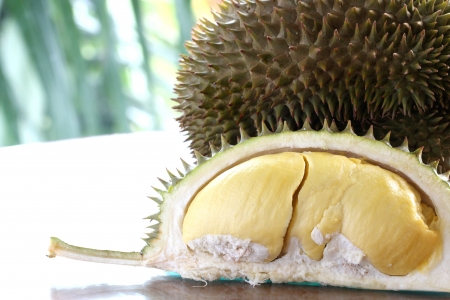 Close up of peeled Durian or Dorain