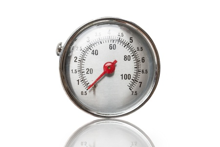 Closeup of a pressure meter on white background