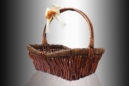 Wicker basket isolute white Background Stock Photo