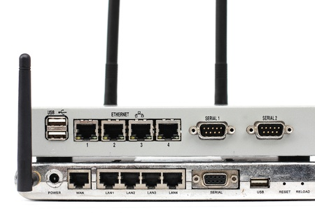 Connect the ethernet port on the back of the router  Stock Photo