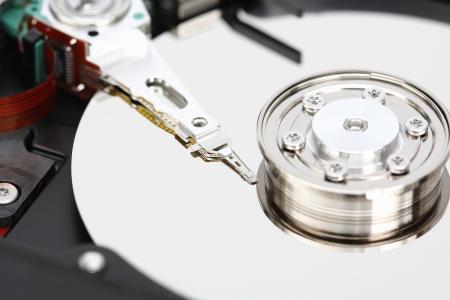 Closeup internal computer hard disk
