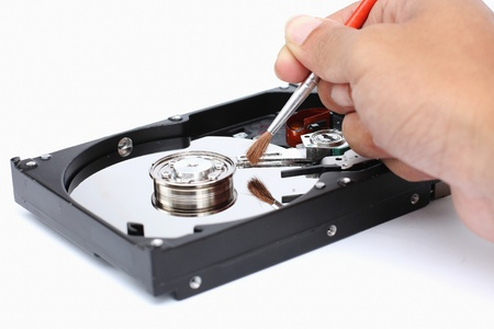 Harddisk cleaner on a white background  photo