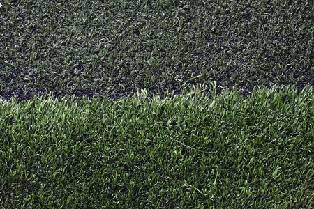 Grass football field with gravel  photo