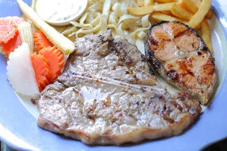 t bone steak: T-Bone steaks and salmon