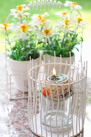 Candle fires with potted plants  photo
