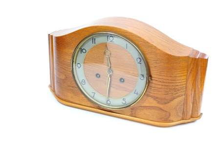 Old wooden clock isolated white background photo