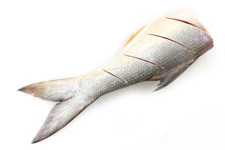 half fish: half fish isolated on white background