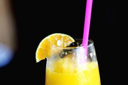 Orange pulp on the glass rim