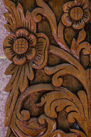teak: Flower Thai style Teak wood carving Door in Chiangmai Thailand