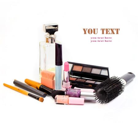 basic care: cosmetics isolated on white background. Pink lipstick, mascara,