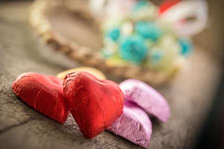 Sfondo San Valentino con cuori rossi Archivio Fotografico