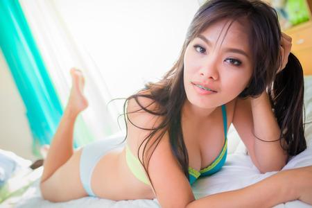 sexy asian woman: Portrait, pretty Asian woman sexy Stock Photo