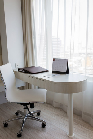 White desk Modern style, the room is clean photo