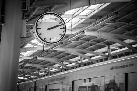 subway platform: Big clock on subway platform Stock Photo