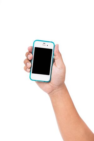 hand holding smart phone: Hand holding smart phone isolated on white