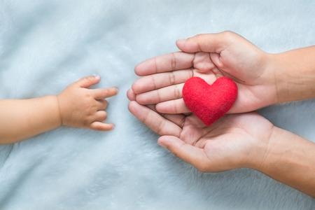 cute babies: Beb� y manos de las madres hacen s�mbolo del amor.