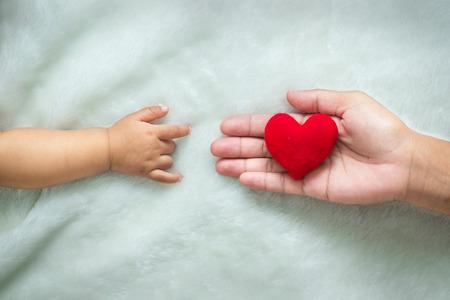 Bambino e mani delle madri fatto simbolo di amore.