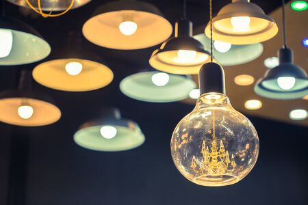 interior lighting: Vintage luxury interior lighting lamp decor Stock Photo