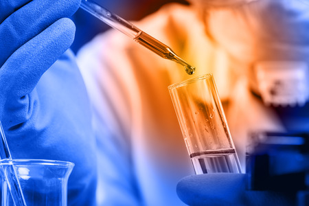 laboratory technician: Hands of clinician holding tools during scientific experiment in laboratory