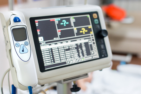 ekg: Health care portable monitoring in hospital Stock Photo