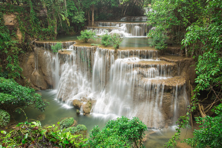cataract waterfall: Beautiful waterfall in autumn forest, deep forest waterfall, Kanchanaburi province, Thailand