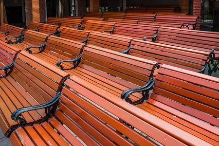 wedding customs: many red bench