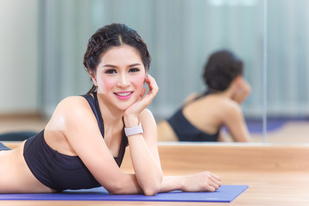 Young people do yoga indoors,In order to have good health