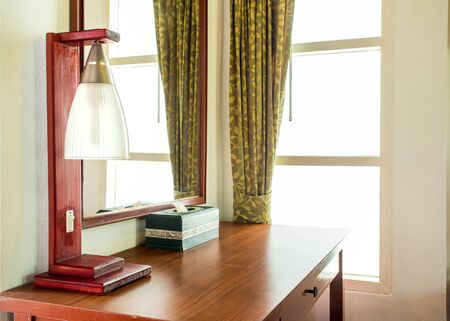 Lamp and home decor and wood table,work space