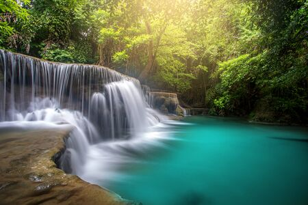 Huay Mae Kamin Waterfall, beautiful waterfall in rainforest at Kanchanaburi province, Thailand