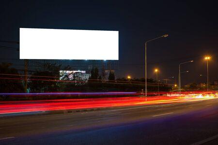 billboard blank for outdoor advertising poster or blank billboard at night time for advertisement. street light Stock Photo