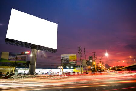 billboard blank for outdoor advertising poster or blank billboard at night time for advertisement. street light Stock Photo - 129698395