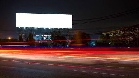 billboard blank for outdoor advertising poster or blank billboard at night time for advertisement. street light