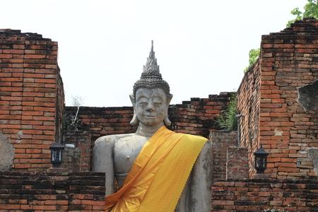 Close up big budhha statue in old budhha temple
