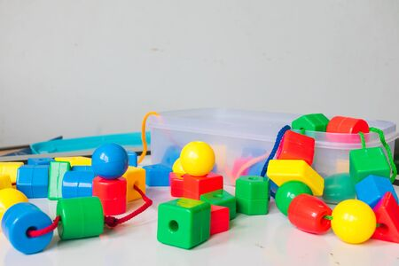The child development brain is green, red, blue and yellow.