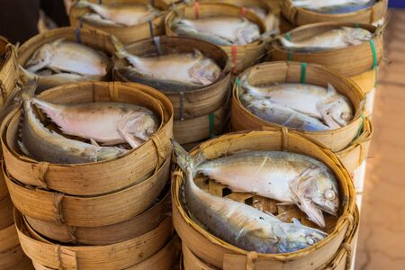 Mackerel that is cooked and placed in the market for sale Imagens