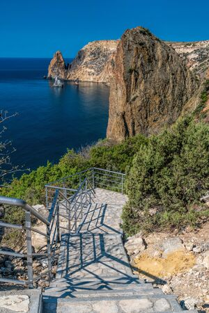 Stone staircase after renovation on the trail leading from St. George Monastery to Jasper Beach, Cape Fiolent, Crimea Russia approximately 800 steps The concept of healthy and active travel.