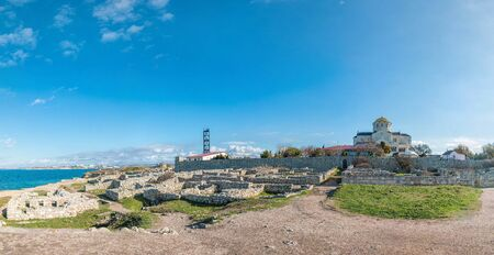 Panoramic view on ruins of Chersonesus, an ancient greek colony and Vladimir Cathedral in nowadays Sevastopol, Crimea The concept of an travel, relax, active and healthy life in harmony with nature.