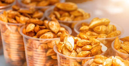 Healthy eating Young almonds, easy to clean nuts antioxidant