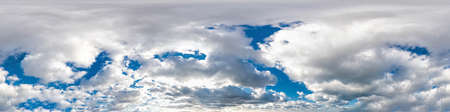 Seamless panorama of sky with puffy Cumulus clouds in spherical equirectangular format with complete zenith for use in 3D graphics, game and composites in aerial drone 360 degree panoramas as sky dome
