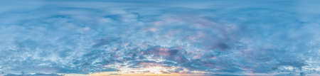 sky panorama with Altocumulus clouds in Seamless spherical equirectangular format with complete zenith for use in 3D graphics, game and composites in aerial drone 360 degree panoramas, as sky dome.