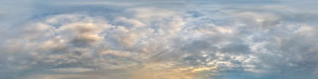 Sky panorama with Stratocumulus clouds in Seamless spherical equirectangular format as full zenith for use in 3D graphics, game and composites in aerial drone 360 degree panoramas for sky replacement.