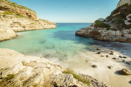 Picturesque beach, stone and rocks on Mallorca Island, Baleares, Spain  Stok Fotoğraf